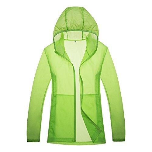 emansmoer Unisex Femme Homme Veste Ultra-Mince Léger d'été Protection Solaire Anti-UV Outdoor Respirant Quick Dry Manteau (Large, Vert)