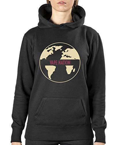 Comedy Shirts Vape Nation Globus Sweat-shirt à capuche pour femme - Noir - XL