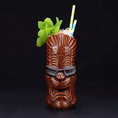 Tazas Tiki (600 ml/20 onzas), tazas de cerámica hawaiana para cócteles, tazas de cerámica hawaiana, vasos de cóctel exóticos, tiki Bar profesional para fiestas hawaianas