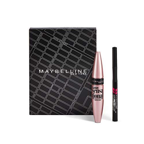 Maybelline New York Cofanetto Idea Regalo Make Up, Confezione con Mascara Ciglia Sensazionali Volumizzante e Eyeliner Hyper Precise, 2 Pezzi, Nero