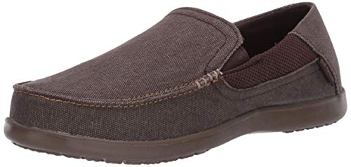 crocs Men's Santa Cruz 2 Luxe Slip-On Loafer, Espresso/Walnut, 13 M US
