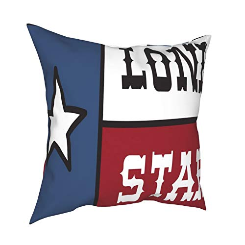 iksrgfvb Pillow Case Cushion Covers Lone Star State Clipart Square Pillowcases for Living Room Sofa 18 x 18 inch