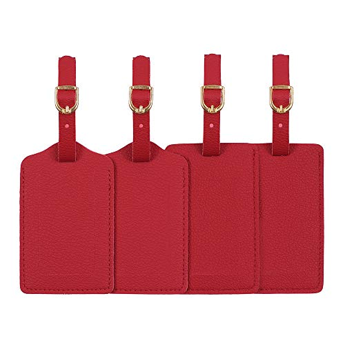 Luggage Tags, Microfiber Leather Personalized Suitcase Tag Set Luggage id Tags Labels Travel Accessories-Set of 4(Red)