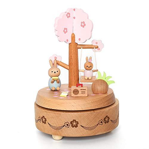 PZMXR Caja de Música Carrusel Caja Musical de Madera Hermosa artesanía de Madera Hecha a Mano La Mejor Idea de Regalo y decoración para cumpleaños