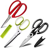Kitchen Scissors Set, GIPTIME 3PCS Kitchen Shears 5 Blade Scissors with Cover, Multipurpose Stainless Steel Kitchen Scissors, Heavy Duty Sharp Meat Cutting Shears for Cutting Poultry, Chicken, Herb