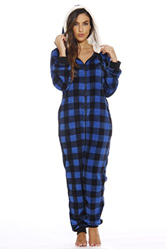 Just Love Adult Onesie/Pajamas,Large,Royal Buffalo Plaid