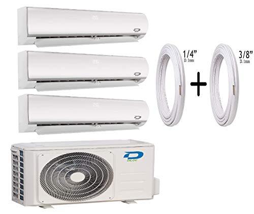 "Diloc Frozen - Aire acondicionado Multisplit - Climatizador Inverter Trial Gas R32, compresor Sharp D.FROZEN360 (9+9+12) D.FROZEN9 x 2 + D.FROZEN12) + tubos de cobre par 1/4"" + 3/8"" (25 + 25)"
