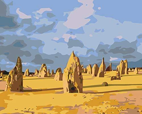 DIY Digitale Schilderen door Nummers Kits Woestijn Boot Landschap Nieuwe Verf door Nummers op Canvas Gift voor Volwassenen en Kinderen Verjaardag Bruiloft Kerstdecoratie Decoraties