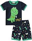 Molyhua - Pijama de algodón para niño, corto, pijama, juego básico, camisetas y pantalones para bebé y niño 86 92 98 104 110 116 01 verde. 92 cm (tamaño fabricante : 100)