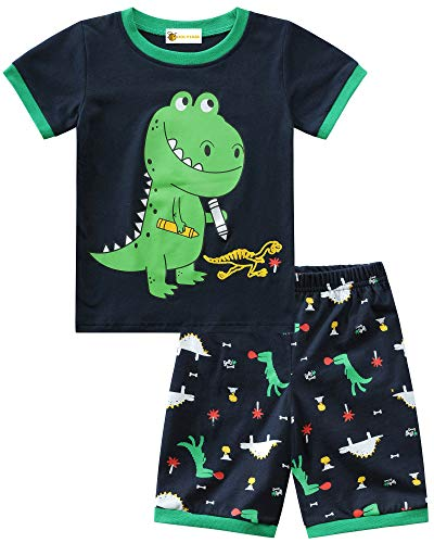 MOLYHUA Baumwolle Schlafanzug Dinosaurier Jungen Kurz Short Pyjama Set Basic T-Shirts & Hosen für Baby-Jungen Bekleidung 92 98 104 110 116 122