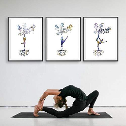 zuomo Impresión de Yoga Mujer Yoga Asanas Zen Arte de la Pared Carteles e Impresiones Árbol de Yoga tríptico Imagen de Arte Abstracto Pintura en Lienzo Decoración para el hogar 40x60cmx3 Sin Marco