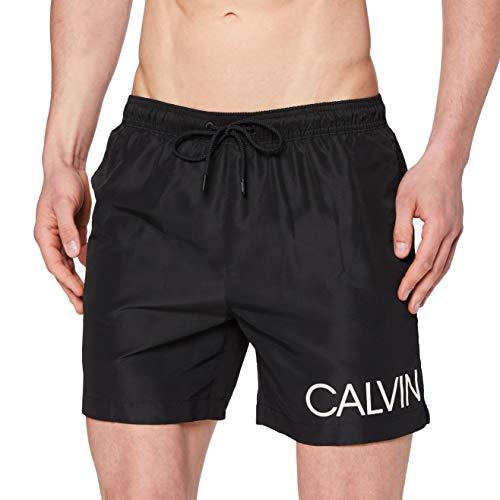 Calvin Klein Medium Drawstring-Side Bañador de natación, Schwarz (Black 001), S para Hombre