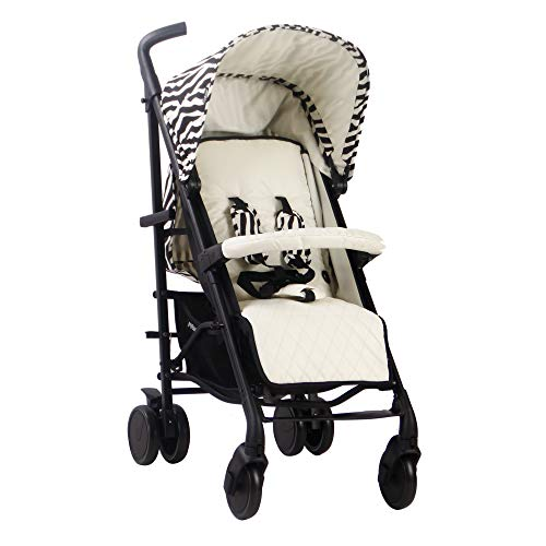 My Babiie MAWMA Nicole'Snooki' Polizzi MB51 Zebra Stroller, Sturdy & Protective, Lightweight Frame, Comfort, Manoeuvrability, Suitable from Birth to Maximum 22kg, W/Cup Holder, Rain Cover & Footmuff