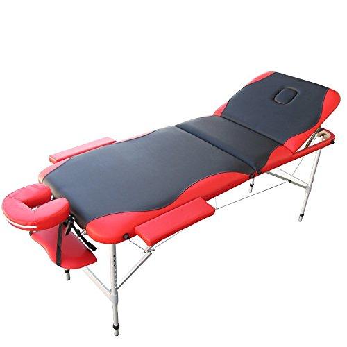 Mobile Aluminium Massage Liege in Schwarz/Rot - MC4002