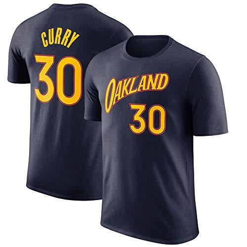 Camiseta De Baloncesto para Hombre, NBA Golden State Warriors # 30 Stephen Curry Baloncesto Deportes De Manga Corta, Ventiladores Entrenamiento Sudadera Uniforme Tops Sueltos,Negro,2XL(180~185CM)