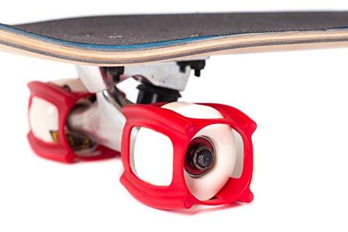 SKATERTRAINER 2.0, die Gummi Skaten Zubehör für Perfektionierung Ihrer Ollie und Kickflip–Lernen, Praxis und Land Tricks in Keine Zeit, rot