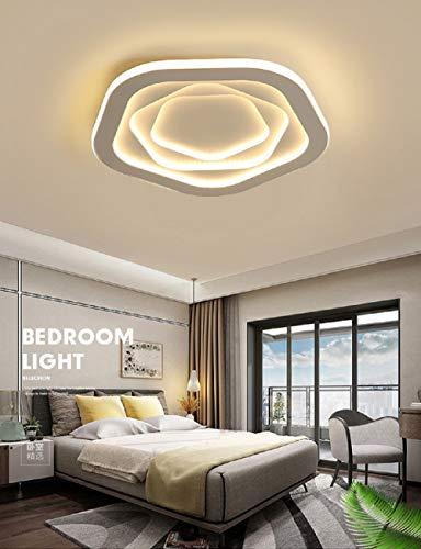 Lámpara de dormitorio LED creativa lámpara de techo minimalista moderna lámparas románticas cálidas (Atenuación continua, Pentagonal 40 * 6 68W)
