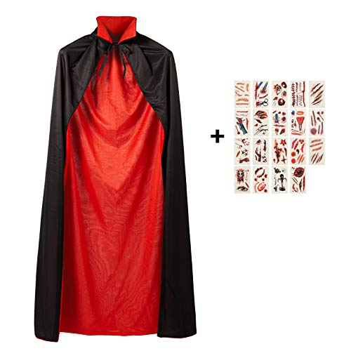 Meerveil Erwachsene Tod Umhang, Teufel Kostüm Samt Cape, Cosplay Kleidung für Halloween und Karneval Party, Schwarze + Rot Reversible Doppeldeck 145cm mit 19 Pcs Temporäre Tattoos