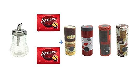 Senseo Kaffeepads Klassisch / Classic, Intensiver & Vollmundiger Geschmack, Kaffee, 3er Pack, 2 x 16 Pads + Zuckerstreuer Glas