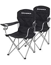SONGMICS Campingstoel, set van 2, inklapbaar, comfortabel, klapstoel met robuust frame, belastbaar tot 150 kg, met flessenhouder, outdoor stoel, zwart GCB08BK, XL