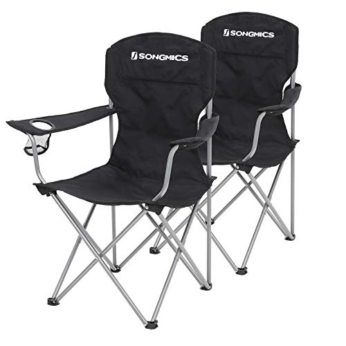 Songmics GCB08BK - Juego de 2 sillas de camping plegables, cómodas, con estructura robusta, soporta hasta 150 kg, con...