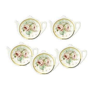 White Porcelain Ceramic with Flower Trim Gold Rim Teapot-Shaped Tea Bag Holder Tea Bag Coasters Spoon Rests  Classic Tea Saucer Seasoning Dish Set
