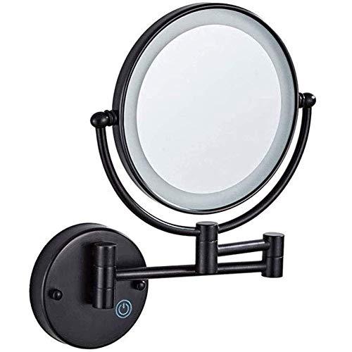 Espejo de afeitar montado en la pared, 5 aumentos, doble cara, plegable, LED, espejo de baño, pantalla táctil, retráctil, 360 grados; Espejo de maquillaje giratorio iluminado, 8 pulgadas, negro