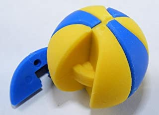 Basketball Beach Ball Sports Japanese Eraser. 2 Pack. Yellow & Blue