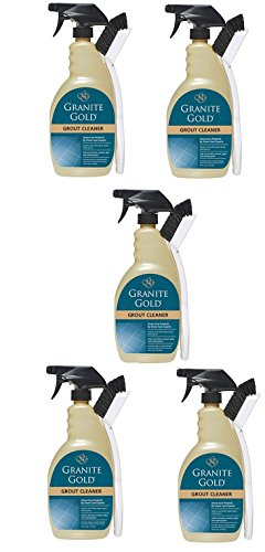 Granite Gold Grout Cleaner And Scrub Brush - Acid-Free Tile And Grout Cleaning For Dirt, Mildew, Mold - 24 Ounces (5 pack)