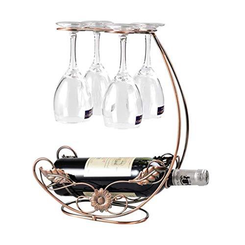 SBDLXY Arbeitsplatte Weinregal mit Glashalter Freistehende Tischplatte Weingläser Display Rack, hält 1 Flasche und 4 Gläser, perfekt für Wohnkultur, Bar, Wein Cel