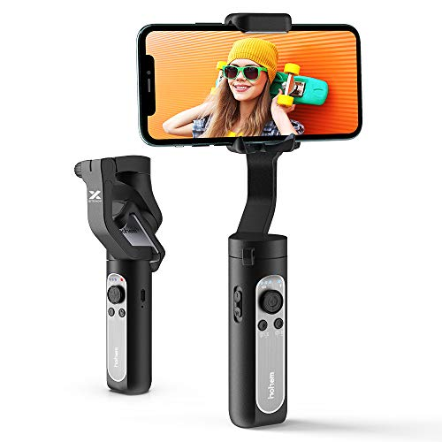 3-Axis Gimbal Stabilizer for Smartphone,0.5lbs Lightweight Foldable Phone Gimbal w/Auto Inception Dolly-Zoom Time-lapse, Handheld Gimbal for iPhone 11 pro max/11/Xs Max/Samsung - Hohem iSteady X