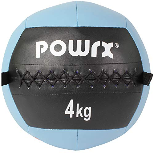 POWRX Wall Ball Balón Medicinal 4 kg - Ideal para Ejercicios de »Functional Fitness«, fortalecimiento y tonificación Muscular - Agarre Antideslizante + PDF Workout (Celeste)
