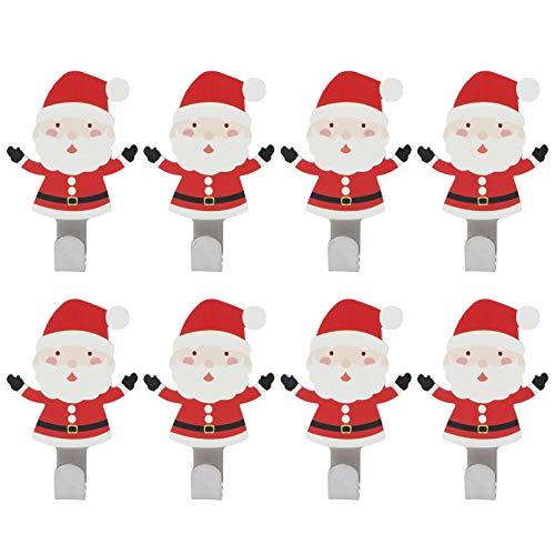 Deror Gancho para Pegar, 8 Piezas Gancho para baño sin Clavos de Acero Inoxidable Almacenamiento de Herramientas de Cocina Gancho Adhesivo para Papá Noel