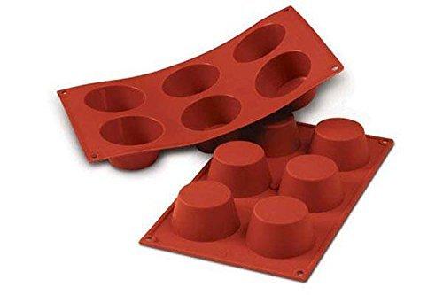 SF023 Molde de Silicona Muffin, 6 cavidades, Color Terracota