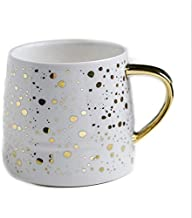 YMYN AYSMG Ceramic Coffee Mug Milk Cup Drinkware Starry Sky Pattern Teacup with Gold Handle(White) (Color : Black)