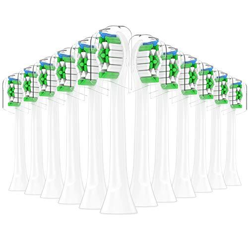 Qlebao Ersatzbürsten Kompatibel mit Philips Sonicare Elektrische Zahnbürste - 12er Aufsteckbürsten Zahnbürstenaufsatz Aufsätze, Medium Bürstenköpfe, Bakterienschutz-Borsten (Weiß)