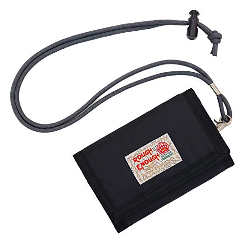 Rough Enough Lanyard Front Pocket Wallet for Kids Boys Girls Teens Slim Wallet for Men Women with Neck Carry Credit Card Wallet Coin Purse for Sports School Hiking Camping Bike Unique Gifts Black