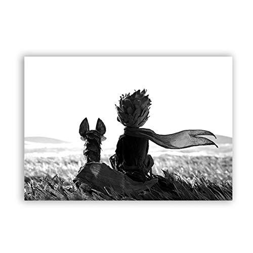 XuFan Leinwand Gemälde Wandkunst Wohnkultur Kinderzimmer Der Kleine Prinz Und Fuchs Bilder HD Drucke Cartoon Poste50cm x100cm Kein Rahmen