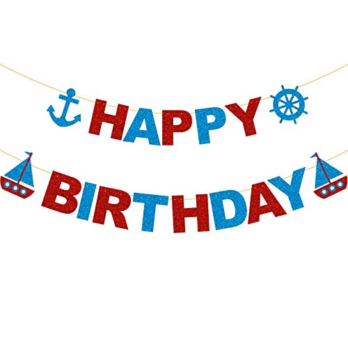 Glitter Nautical Happy Birthday Banner for Baby Shower Baby Boy Wheel Party Decorations,Boys Birthday Paty Decorations