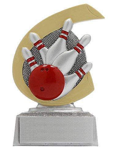 Bowling-Pokal mit Wunschgravur und 3 Bowling-Anstecknadeln.