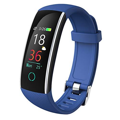 YASF- Monitor de actividad física 2020 versión para hombres y mujeres con presión arterial, monitor de sueño, monitor de actividad impermeable, podómetro, reloj para Android ios (color: azul)