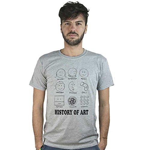 T-Shirt History of Art, Maglietta Grigia Divertente, Van Gogh, Picasso, Monet