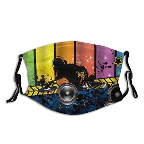 GABRI Mundschutz Gesichtsschutz Musikthema Dj Antistaub Waschbar und Wiederverwendbar Bandana mit Filtern