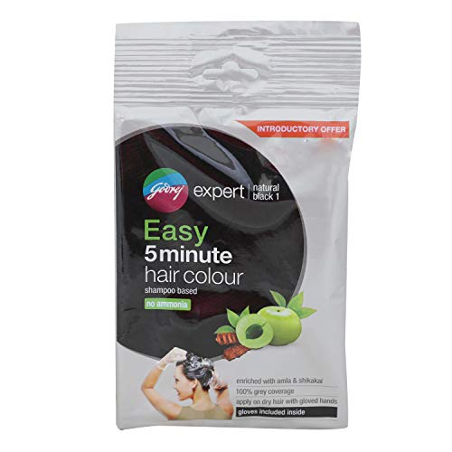 Godrej Expert Easy 5min Shampoo Hair Color,1-Natural Black,pack of 8