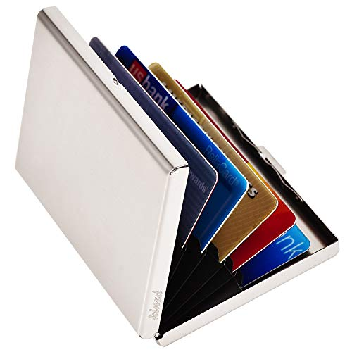 Kinzd Metal Card Holder Wallet RFID Blocking Stainless Steel Credit Card Protector for Men & Women (Style 1 - Silver)