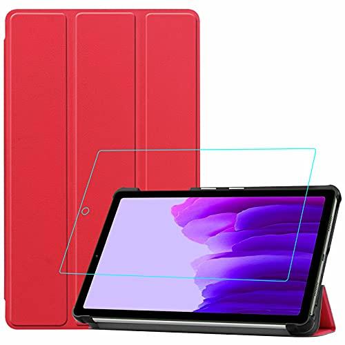 YGoal Funda para Galaxy Tab A7 Lite - Multiángulo PU Cuero Folio Carcasa con Protector de Pantalla para Samsung Galaxy Tab A7 Lite SM-T225/T220 8.7 Pulgada, Rojo