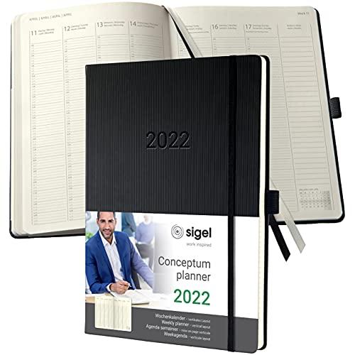 SIGEL C2218 Planungsbuch Terminplaner Wochenkalender 2022 - A4+ - 1 Woche = 2 Seiten, 1 Spalte pro Tag - schwarz - Hardcover - 192 Seiten - Gummiband, Archivtasche - PEFC-zertifiziert - Conceptum