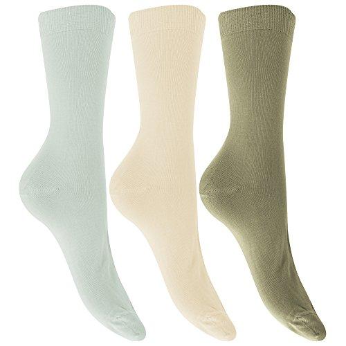 Universaltextilien Damen Bambus-Socken, 3 Paar (37-41 EU) (Schiefergrau/Naturweiß/Stein)