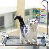 Tocypho Hamaca para ventana de gato con ahorro de espacio, con 4 ventosas grandes, capacidad para hasta 18 kg