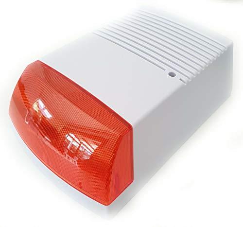 Surga Allarme finto: sirena di allarme finta, con luce lampeggiante, IP44 (sistema di allarme Atrappe)
